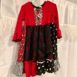 Red black and white toddler dress.